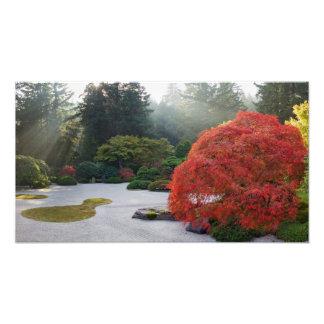 Foto de niebla de la tarde del jardín plano japoné fotografías