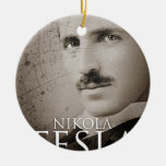 Foto de Nikola Tesla del vintage Adorno Navideño Redondo De Cerámica