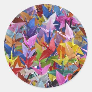 Foto de papel de 1.000 grúas de Origami Pegatina Redonda