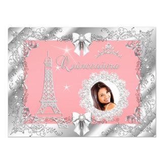"""Foto de plata de princesa Pink PEACH Quinceanera Invitación 6.5"""" X 8.75"""""""
