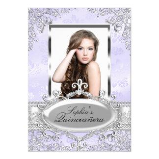 """Foto de plata púrpura Quinceanera del encanto del Invitación 5"""" X 7"""""""