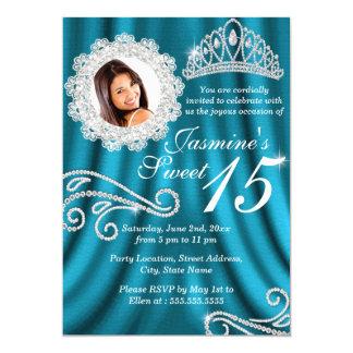 """Foto de plata Quinceanera de la tiara del diamante Invitación 5"""" X 7"""""""