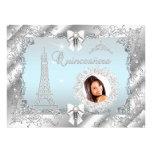 Foto de princesa Teal Blue Quinceanera Silver GRAN Comunicados Personalizados