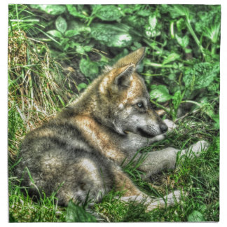 Foto de reclinación de la fauna del perrito de lob servilletas de papel