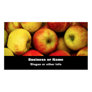 Foto de un celemín de manzanas amarillas y rojas tarjetas de visita
