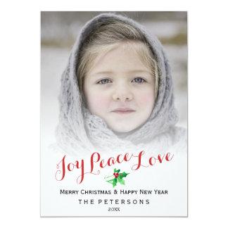 """Foto del acebo del amor de la paz de la alegría de invitación 5"""" x 7"""""""