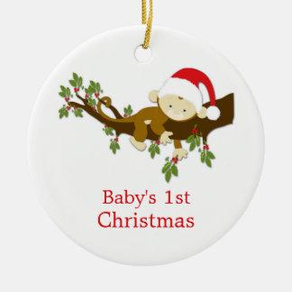 Foto del acebo del mono del 1r navidad del bebé adorno redondo de cerámica