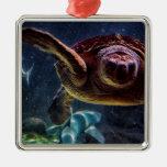Foto del acuario de la tortuga de mar adorno de reyes
