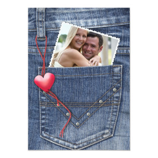 """Foto del amor en una tarjeta plana del bolsillo invitación 5"""" x 7"""""""
