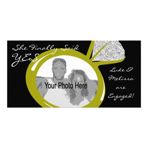 Foto del anillo de compromiso tarjeta con foto personalizada