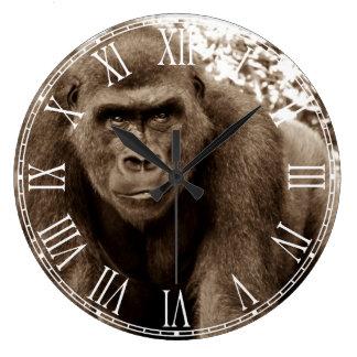 Foto del animal de la fauna del primate del mono reloj redondo grande