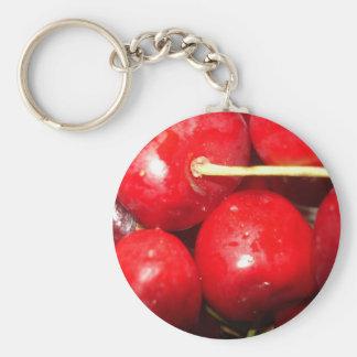 Foto del arte de las cerezas llavero redondo tipo pin