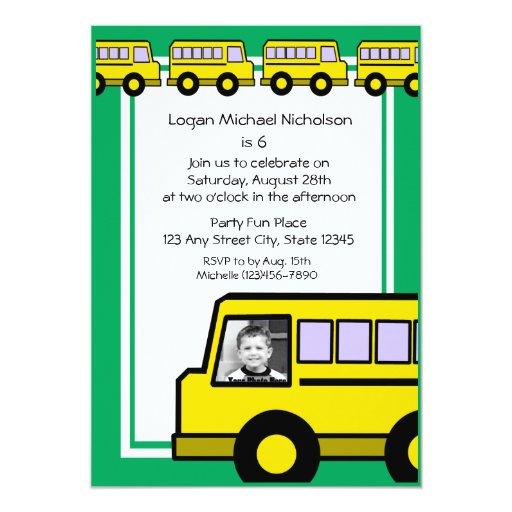 Foto del autobús de escuela invitación 12,7 x 17,8 cm
