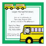 Foto del autobús de escuela invitación 13,3 cm x 13,3cm