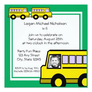 """Foto del autobús de escuela invitación 5.25"""" x 5.25"""""""