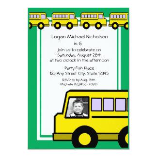 """Foto del autobús de escuela invitación 5"""" x 7"""""""