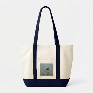 foto del ave marina en el tote para la playa bolsa de mano