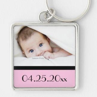 Foto del bebé y fecha de nacimiento llavero cuadrado plateado