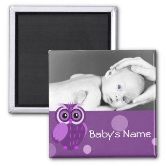 Foto del búho del bebé imán cuadrado