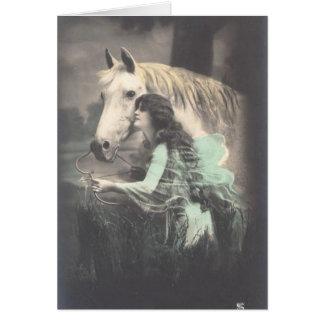 Foto del caballo del vintage de Colorized Felicitación