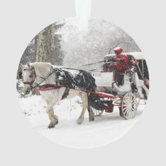 Foto del caballo y del cochecillo en invierno del
