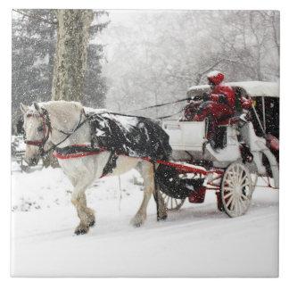 Foto del caballo y del cochecillo en invierno del azulejo cuadrado grande