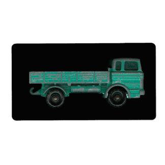 Foto del camión del juguete del vintage del etiqueta de envío
