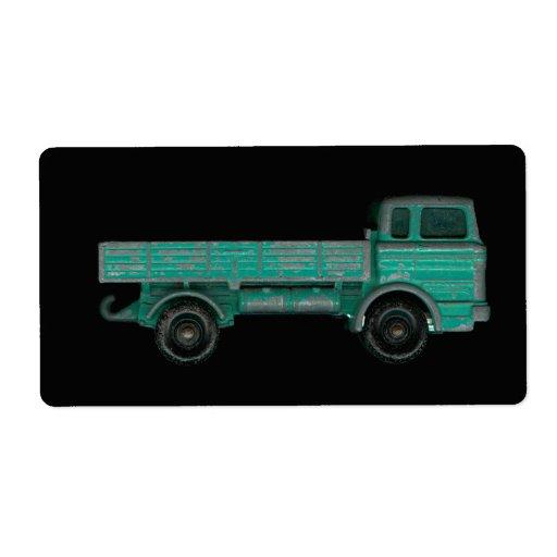 Foto del camión del juguete del vintage del transp etiquetas de envío
