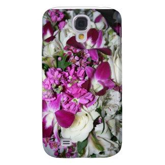 Foto del centro de flores púrpura y blanca carcasa para galaxy s4