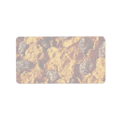 Foto del cereal de la pasa y del salvado etiquetas de dirección