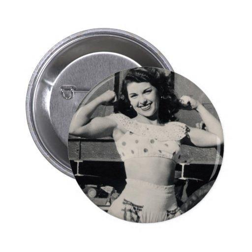 Foto del chica del músculo del circo del vintage pin redondo de 2 pulgadas