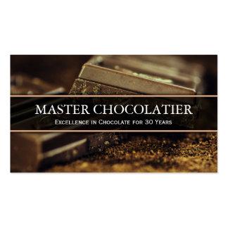 Foto del chocolate oscuro, tarjeta de visita de