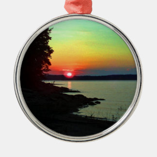 Foto del cielo del arco iris de la puesta del sol  ornamento de navidad