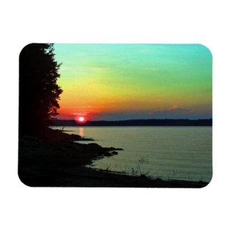 Foto del cielo del arco iris de la puesta del sol  iman rectangular