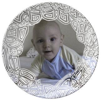 Foto del círculo del garabato plato de cerámica