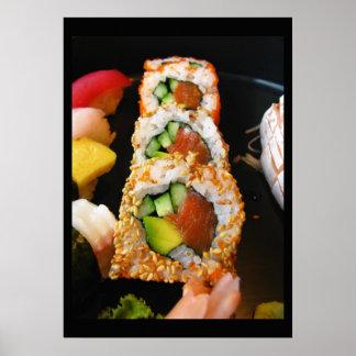 Foto del cocinero del foodie del sashimi del rollo póster