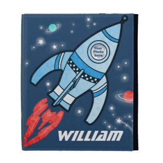 Foto del cohete de espacio y caja azules del folio