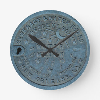 Foto del contador del agua de New Orleans Reloj Redondo Mediano