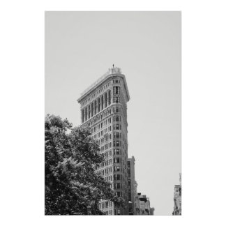 Foto del edificio del flatIorn del estilo del vint Póster