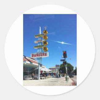 foto del este de Los Ángeles de las hamburguesas Pegatina Redonda