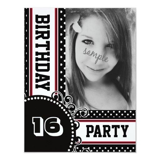 Foto del fiesta del chica rojo blanco negro del invitación 10,8 x 13,9 cm