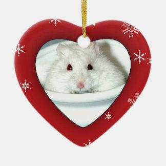 Foto del hámster del albino adorno navideño de cerámica en forma de corazón