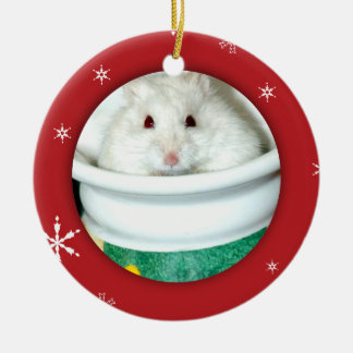 Foto del hámster del albino adorno navideño redondo de cerámica