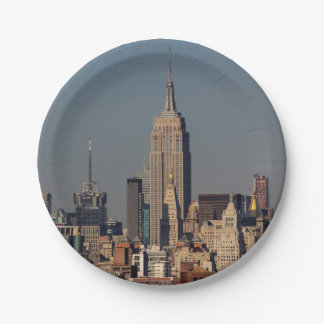 Foto del horizonte de New York City con el estado Plato De Papel De 7 Pulgadas