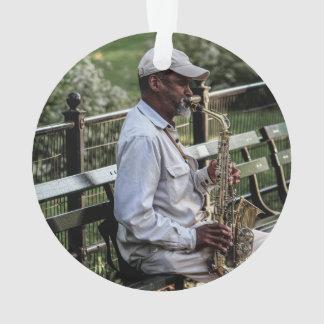 Foto del jugador de saxofón de la calle de New