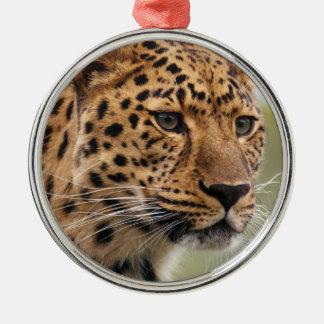 Foto del leopardo adorno redondo plateado