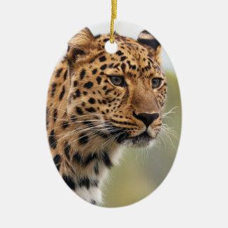 Foto del leopardo adorno ovalado de cerámica