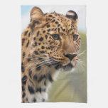 Foto del leopardo toallas de mano