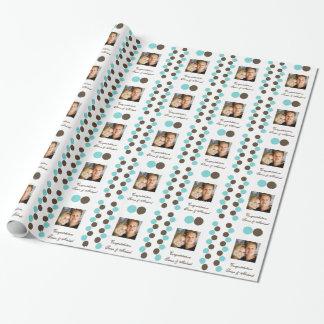 Foto del marrón azul de los lunares papel de regalo
