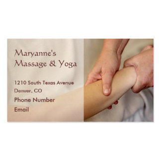 Foto del masaje del brazo tarjetas de visita